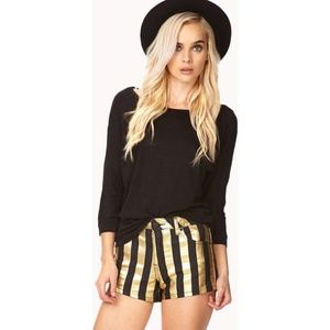 Gold & black striped shorts